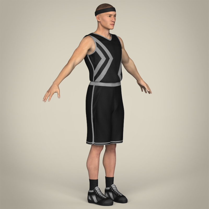 realistic male basketball player 3d model 3ds max fbx c4d lwo ma mb texture obj 208091