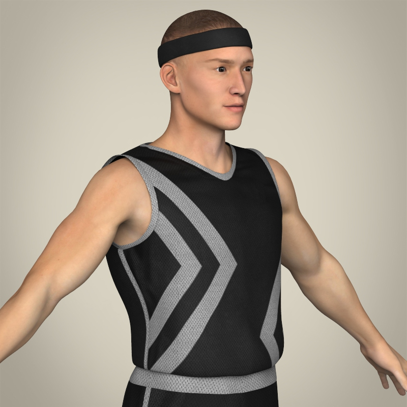 realistic male basketball player 3d model 3ds max fbx c4d lwo ma mb texture obj 208092
