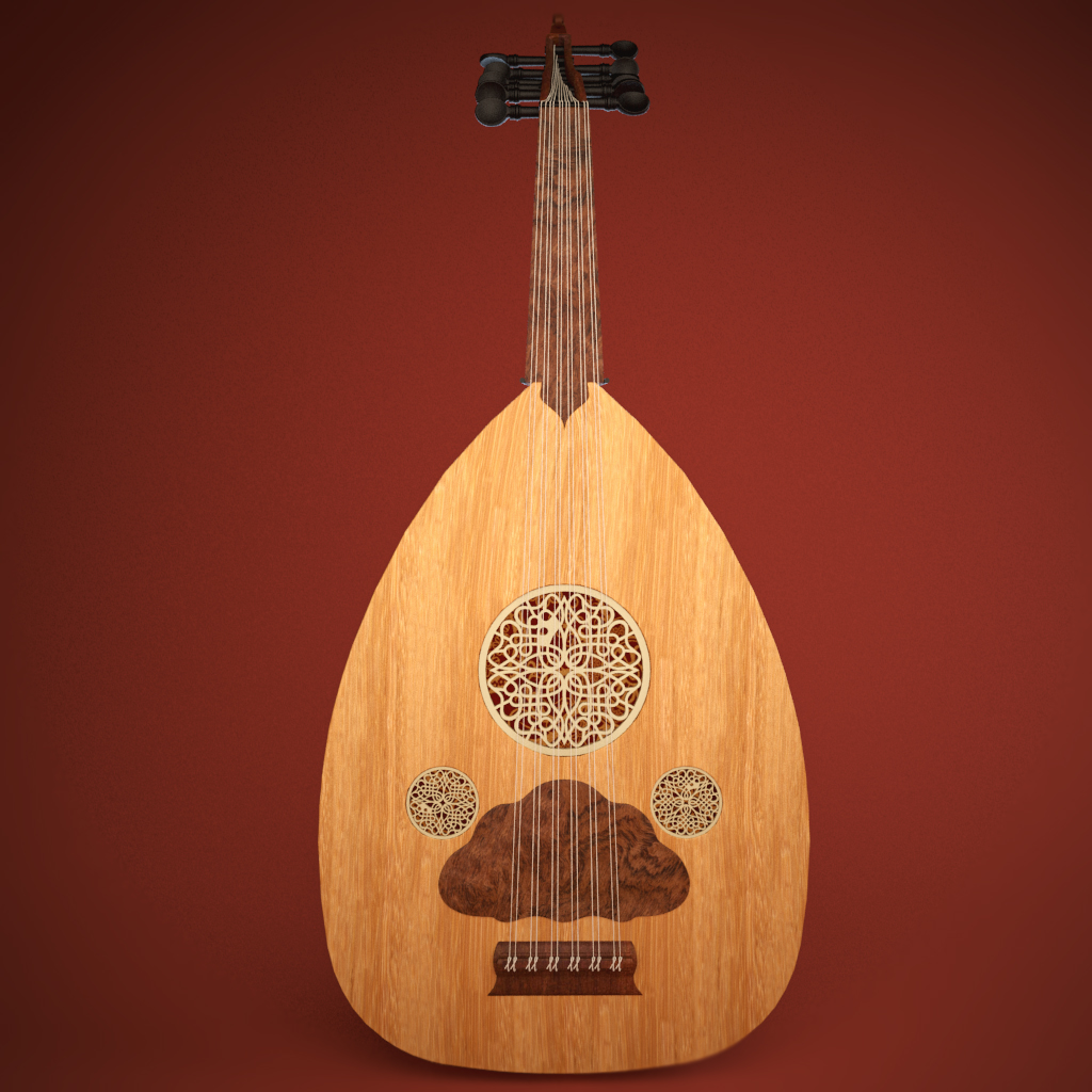arabic instrument oud 3d model 3ds max fbx ma mb cilësi obj 208103
