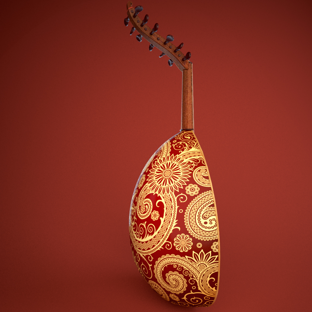 arabic oud instrument 3d model 3ds max fbx ma mb texture obj 208104