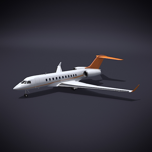 bombardier 5000 global corporate jet 3d model 3ds fbx blend dae obj 208109