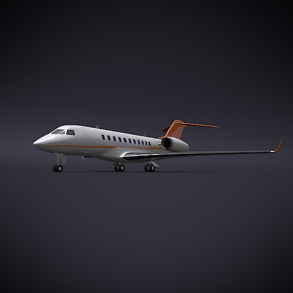 bombardier 5000 global corporate jet 3d model 3ds fbx blend dae obj 208113