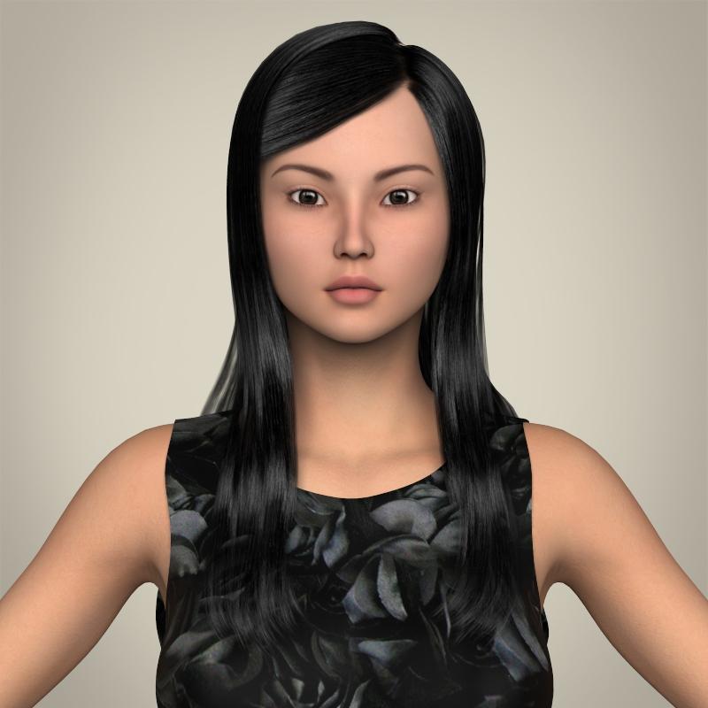 realistic cute sexy girl 3d model 3ds max fbx c4d lwo ma mb texture obj 208120