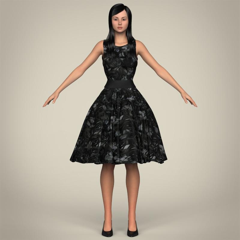 realistic cute sexy girl 3d model 3ds max fbx c4d lwo ma mb texture obj 208127