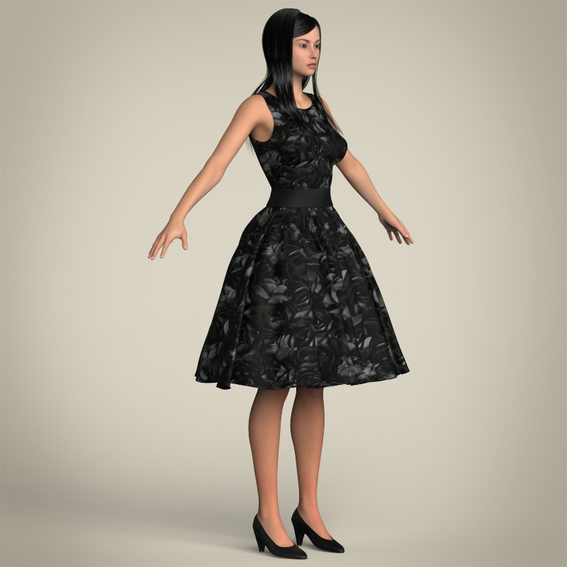 realistic cute sexy girl 3d model 3ds max fbx c4d lwo ma mb texture obj 208132