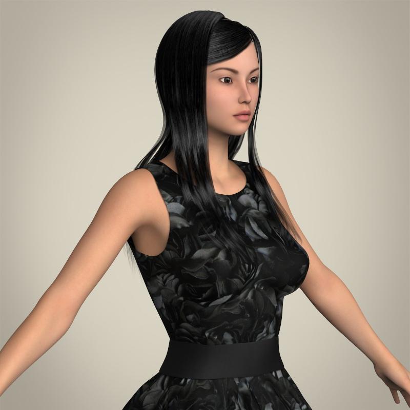realistic cute sexy girl 3d model 3ds max fbx c4d lwo ma mb texture obj 208133
