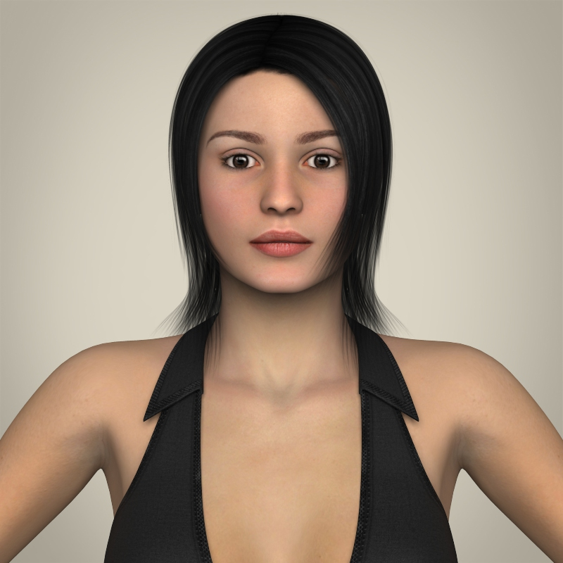 realistic young working woman 3d model 3ds max fbx c4d lwo ma mb texture obj 208287