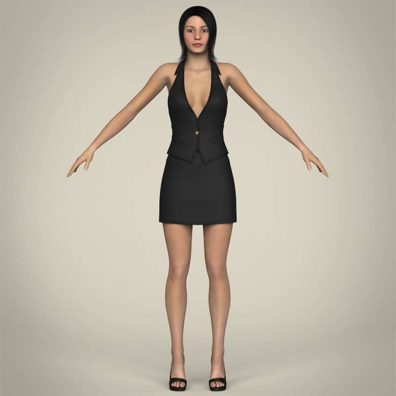 realistic young working woman 3d model 3ds max fbx c4d lwo ma mb texture obj 208294