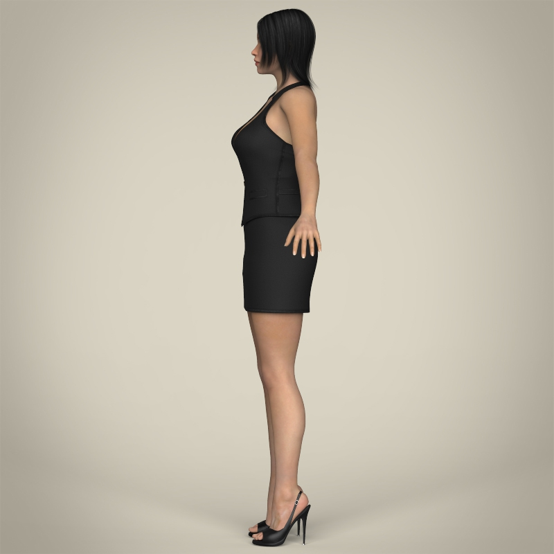 realistic young working woman 3d model 3ds max fbx c4d lwo ma mb texture obj 208295
