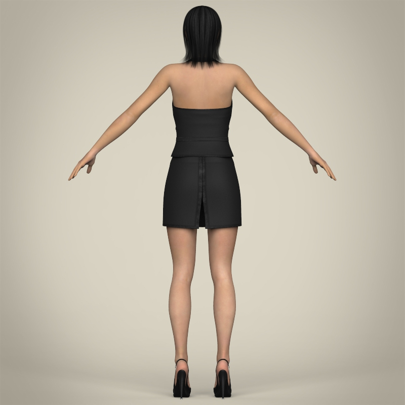 realistic young working woman 3d model 3ds max fbx c4d lwo ma mb texture obj 208298