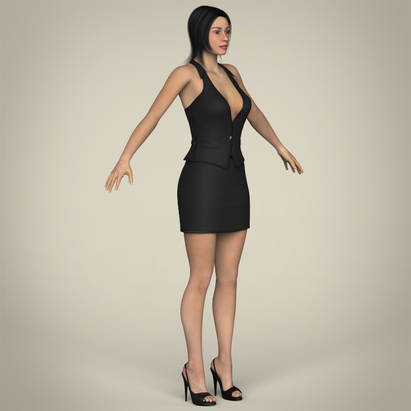 realistic young working woman 3d model 3ds max fbx c4d lwo ma mb texture obj 208299