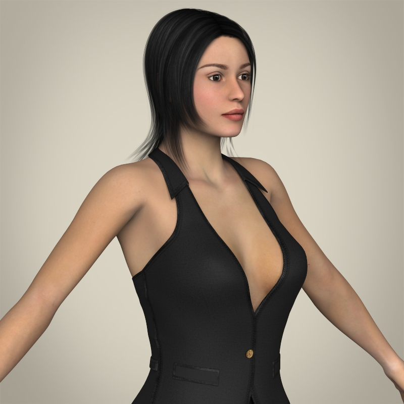 realistic young working woman 3d model 3ds max fbx c4d lwo ma mb texture obj 208300