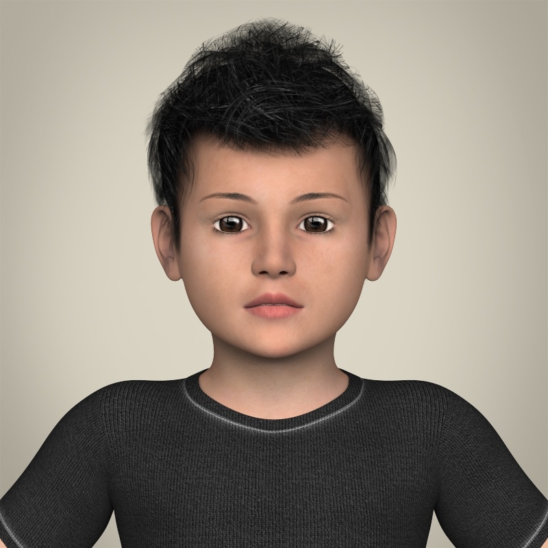 realistic little boy 3d model 3ds max fbx c4d lwo ma mb texture obj 208381