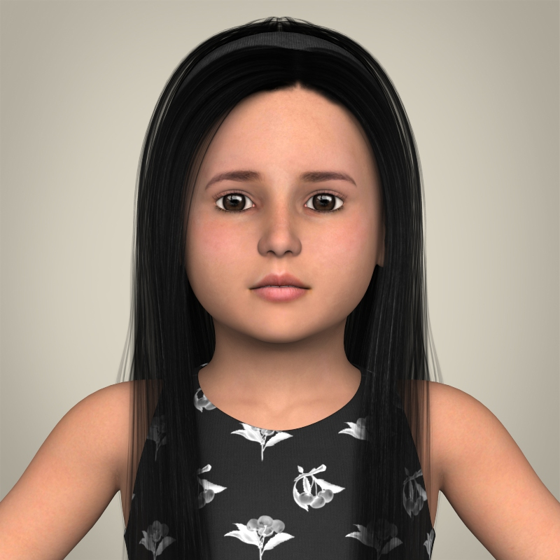 Realistic Little Girl 3d model 3ds max fbx c4d lwo lws lw ma mb  obj 208455