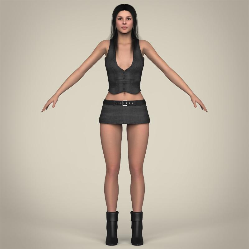 realistic beautiful sexy girl 3d model 3ds max fbx c4d lwo ma mb texture obj 208514