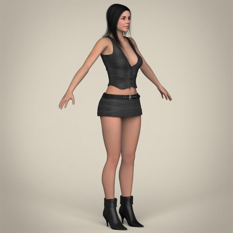 realistic beautiful sexy girl 3d model 3ds max fbx c4d lwo ma mb texture obj 208519