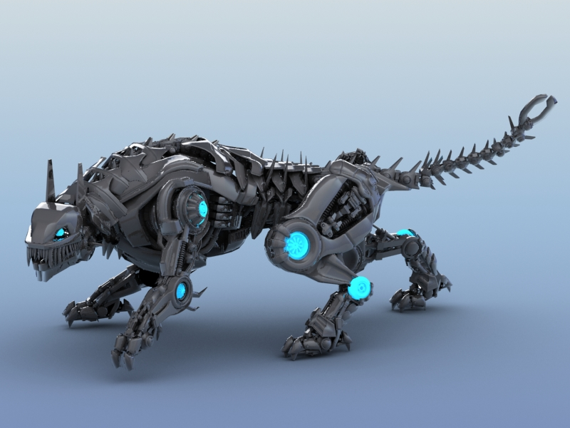 robot tiger 3d model 3ds max fbx flt 208653