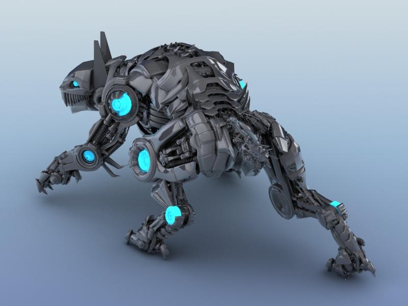 robot tiger 3d model 3ds max fbx flt 208655