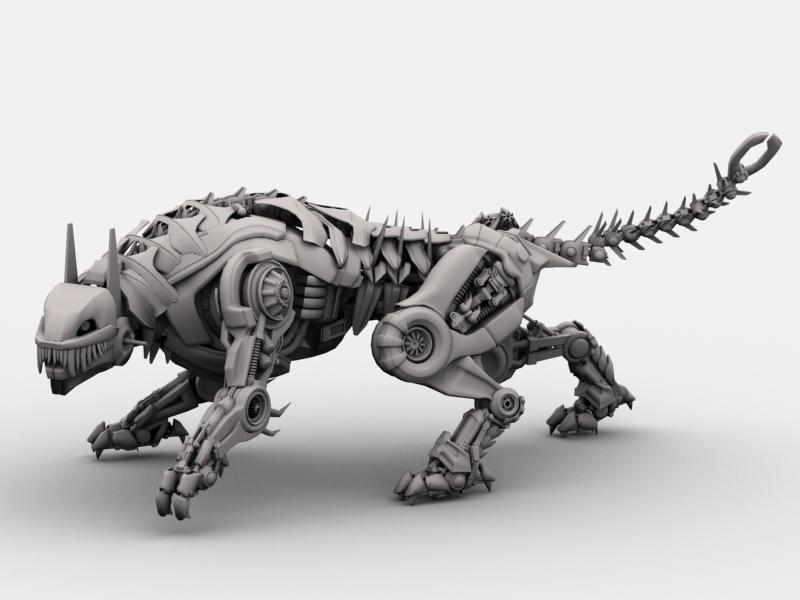robot tiger 3d model 3ds max fbx flt 208658