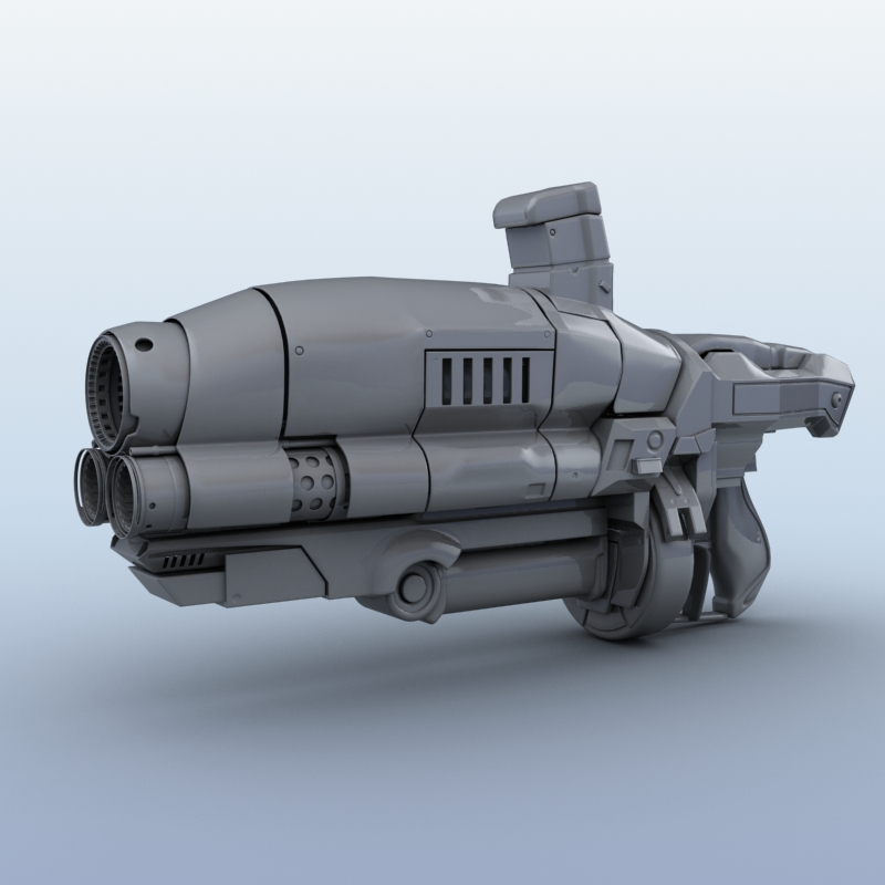 sci-fi gun 3d model 3ds max fbx obj 208680