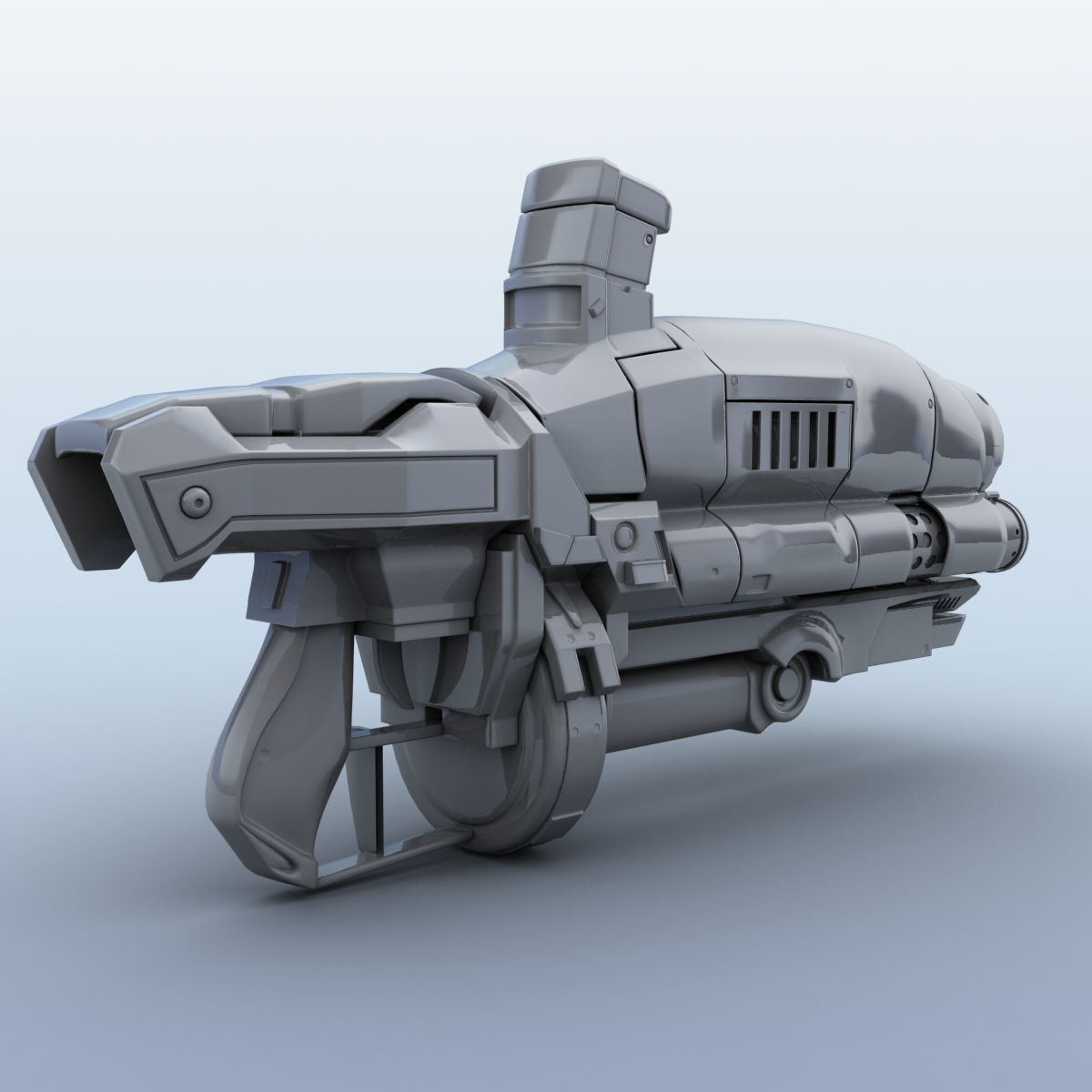 sci-fi gun 3d model 3ds max fbx obj 208681