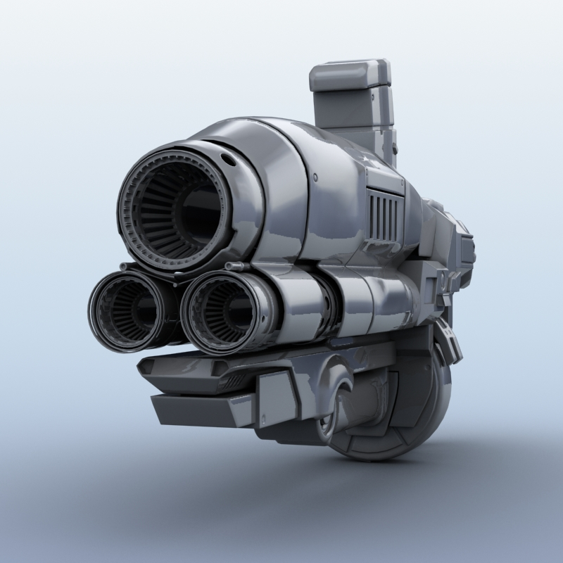 sci-fi gun 3d model 3ds max fbx obj 208682