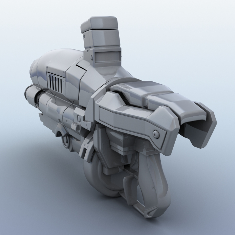 sci-fi gun 3d model 3ds max fbx obj 208683