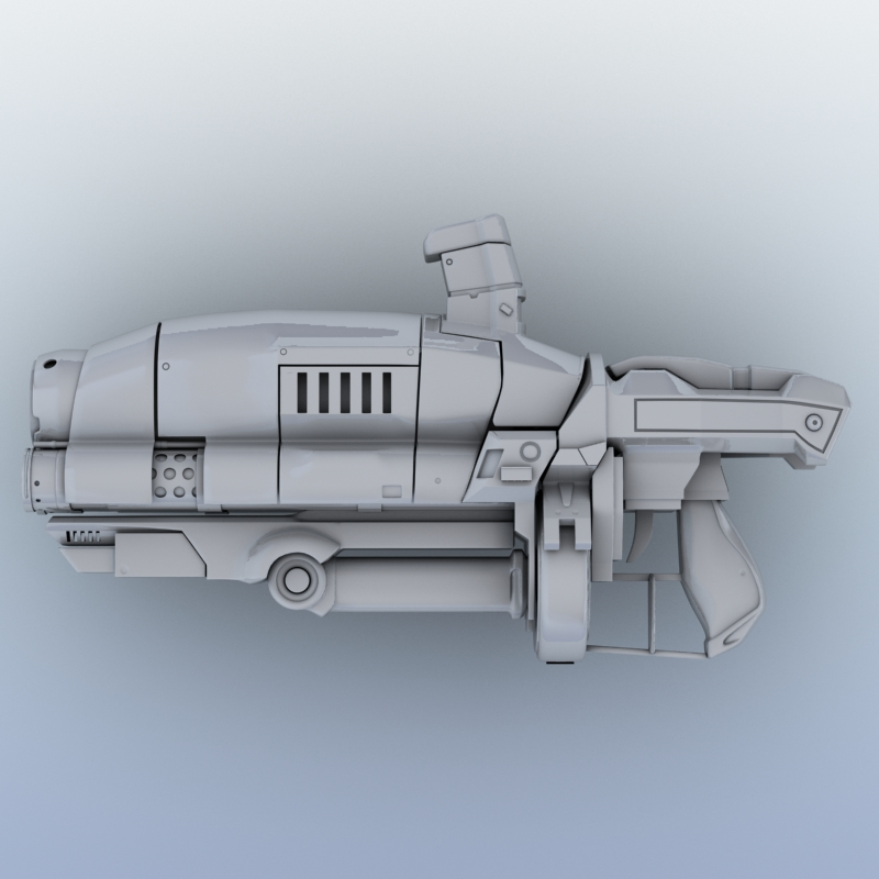 sci-fi gun 3d model 3ds max fbx obj 208684