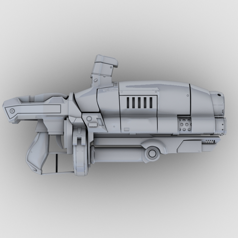 sci-fi gun 3d model 3ds max fbx obj 208685