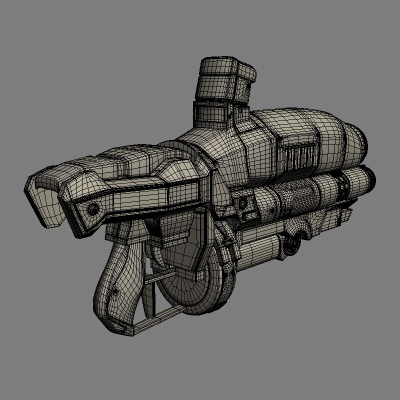 sci-fi gun 3d model 3ds max fbx obj 208687