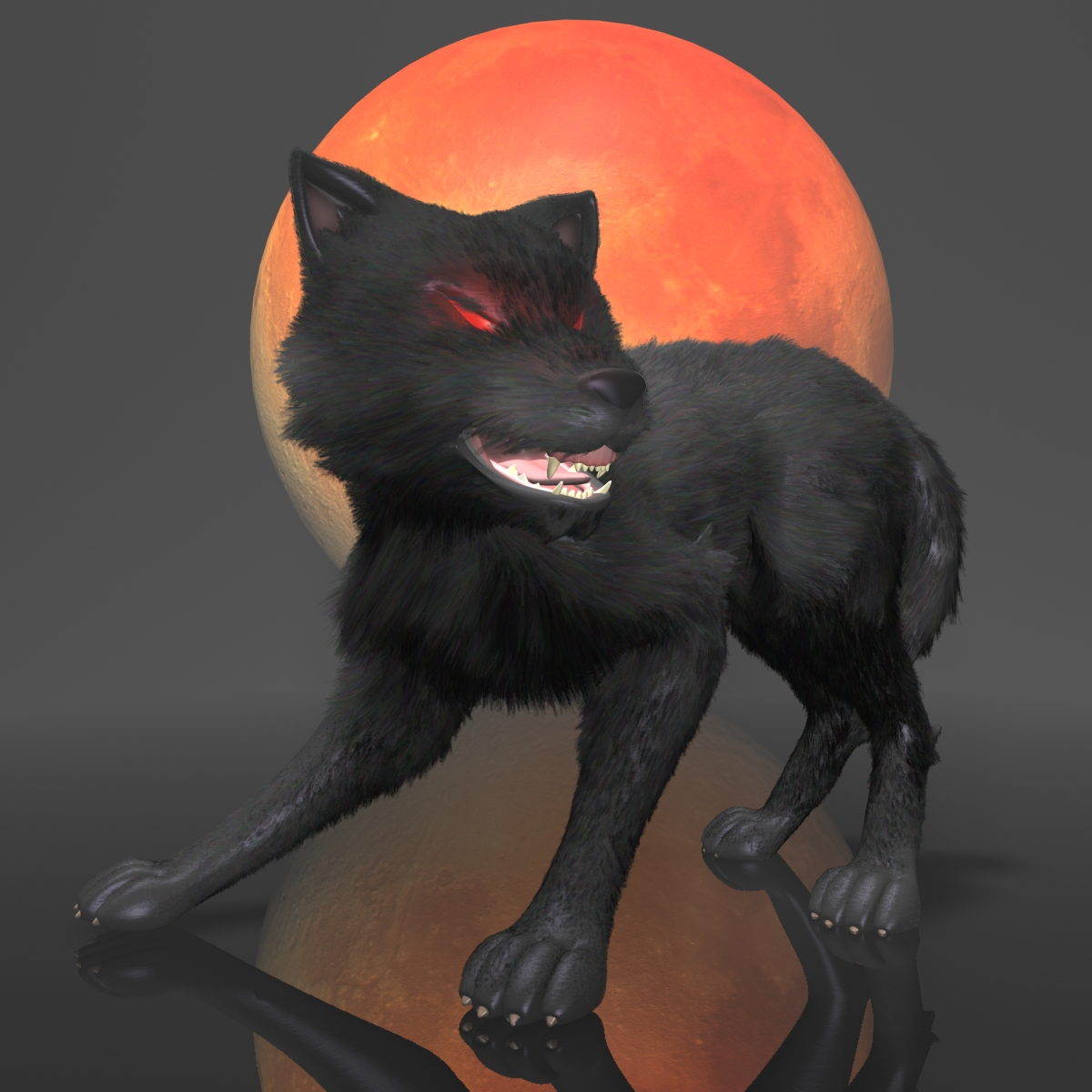 dark wolf rigged 3d model 3ds max fbx  obj 208806