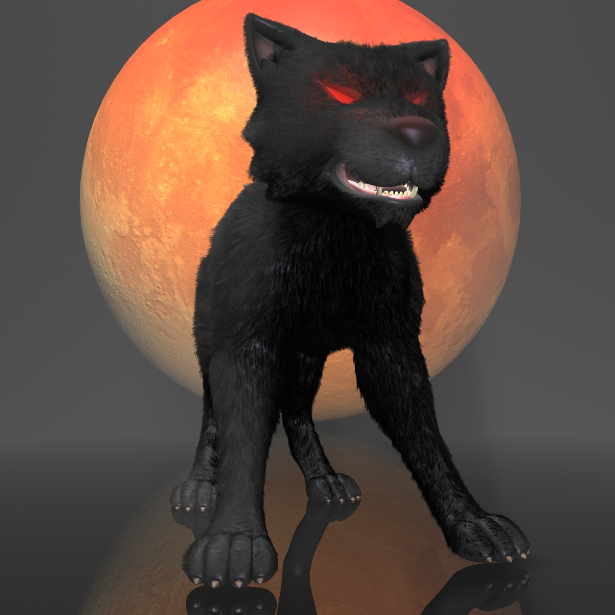 dark wolf rigged 3d model 3ds max fbx  obj 208808