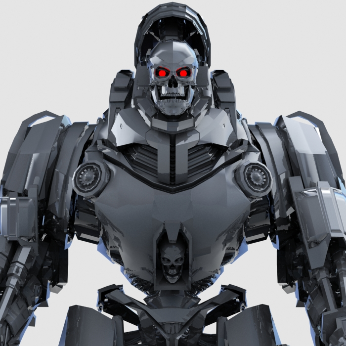 skull robot 3d model 3ds max fbx obj 208928