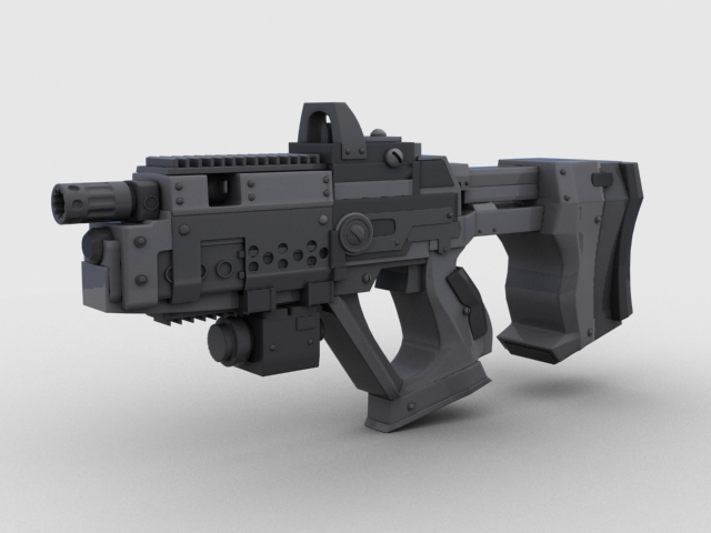 sci fi gun 01 3d model 3ds max fbx obj 209014