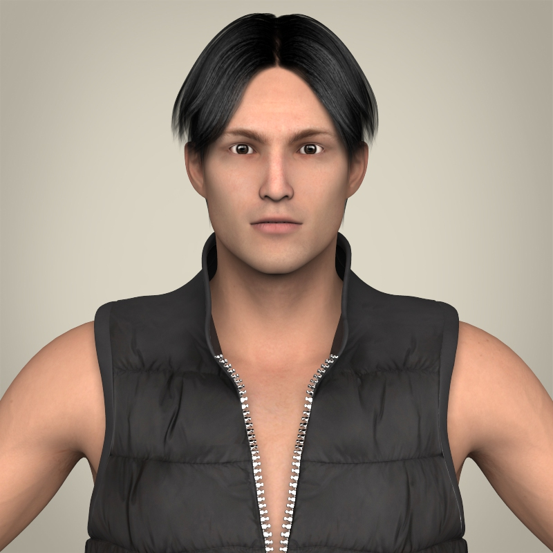 realistic young handsome man 3d model 3ds max fbx c4d lwo ma mb texture obj 209059
