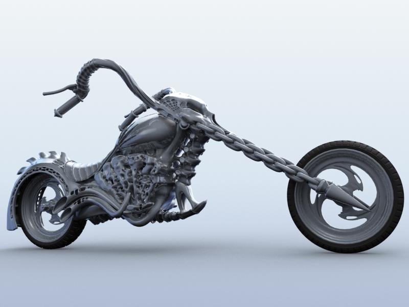 sci fi motorcycle 3d model 3ds max fbx obj 209183