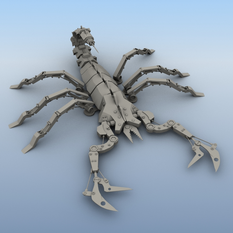 mechanical scorpion 3d model 3ds max fbx obj 209220