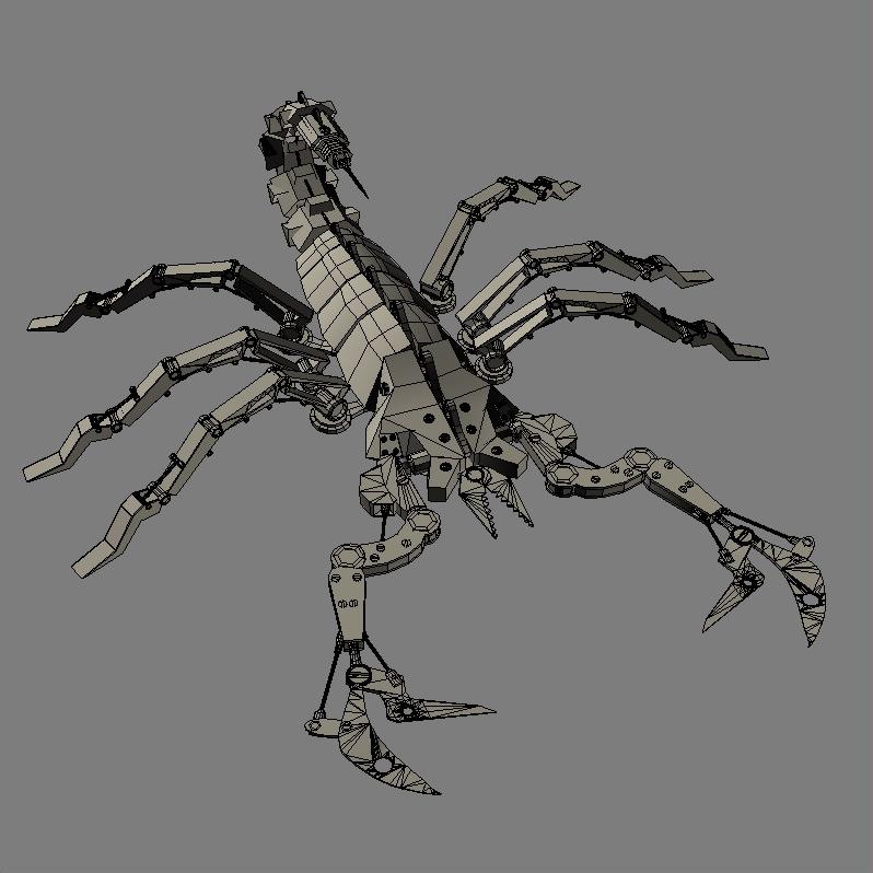 mechanical scorpion 3d model 3ds max fbx obj 209221