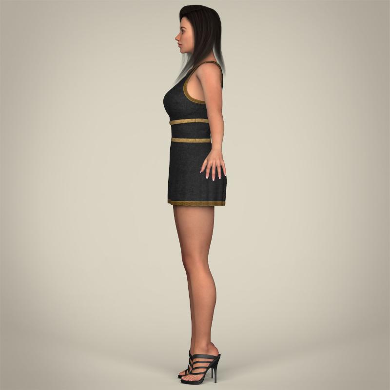 realistic young gorgeous woman 3d model 3ds max fbx c4d lwo ma mb texture obj 209250