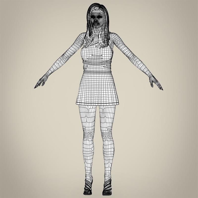 realistic young gorgeous woman 3d model 3ds max fbx c4d lwo ma mb texture obj 209262
