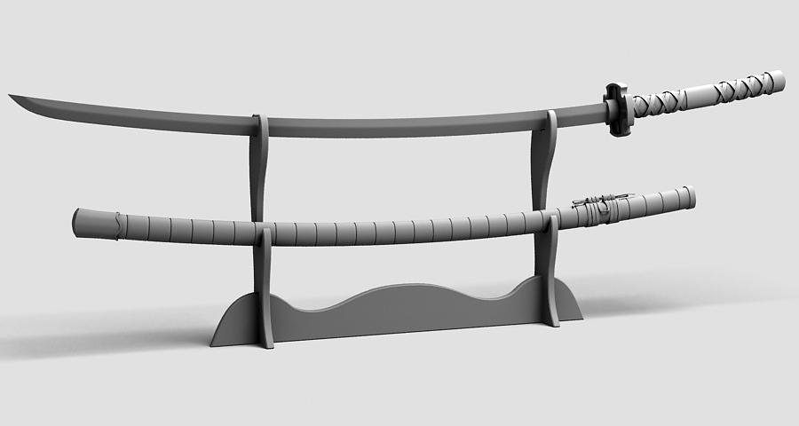 Японы katana цуглуулах 3d загвар 3ds max fbx obj 209310