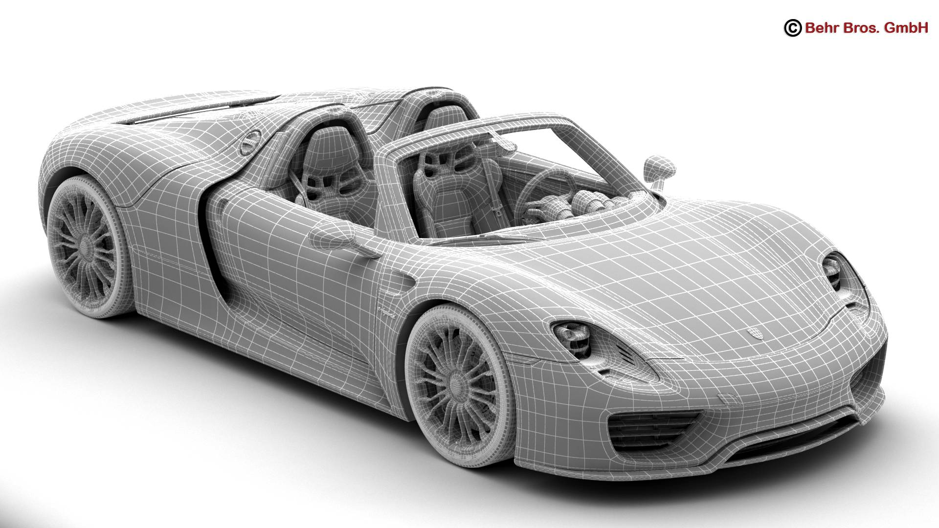 porsche 918 spyder with detachable roof 3d model 3ds max fbx c4d lwo ma mb obj 209350