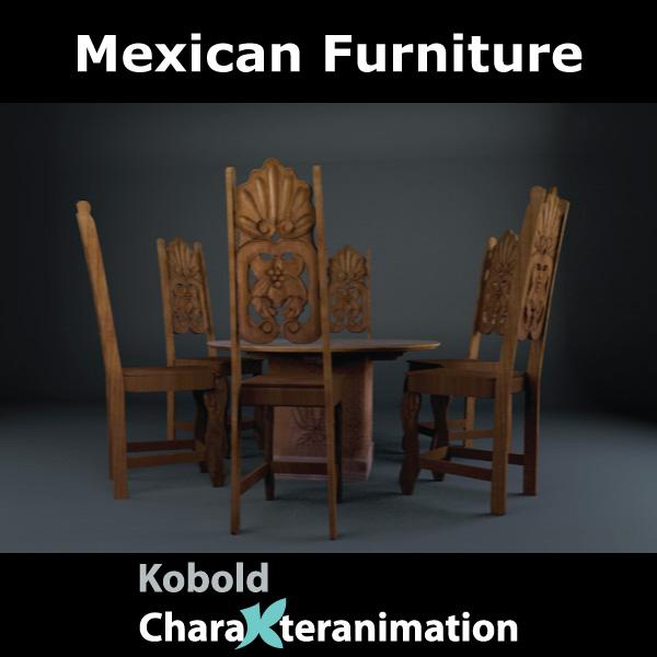mexican stul və masa 3d model c4d 209371