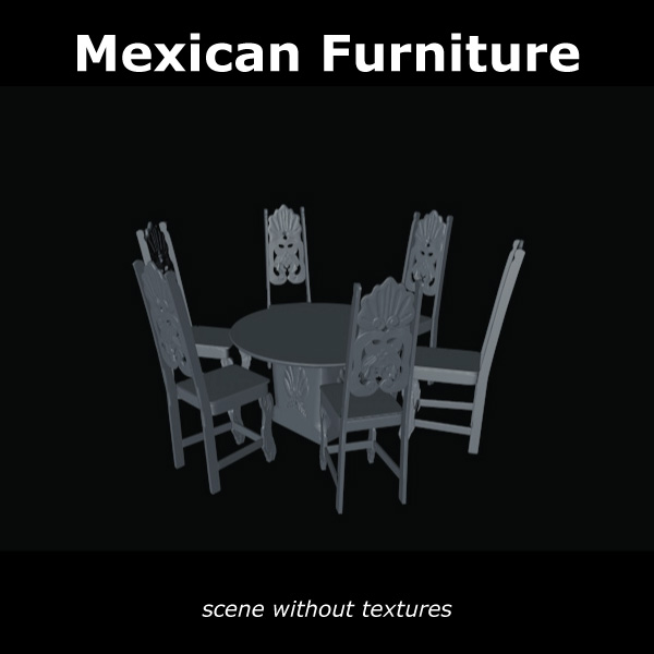 mexican chair and table 3d model c4d 209375
