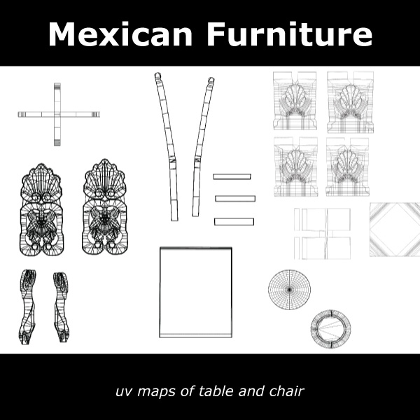 mexican chair and table 3d model c4d 209378