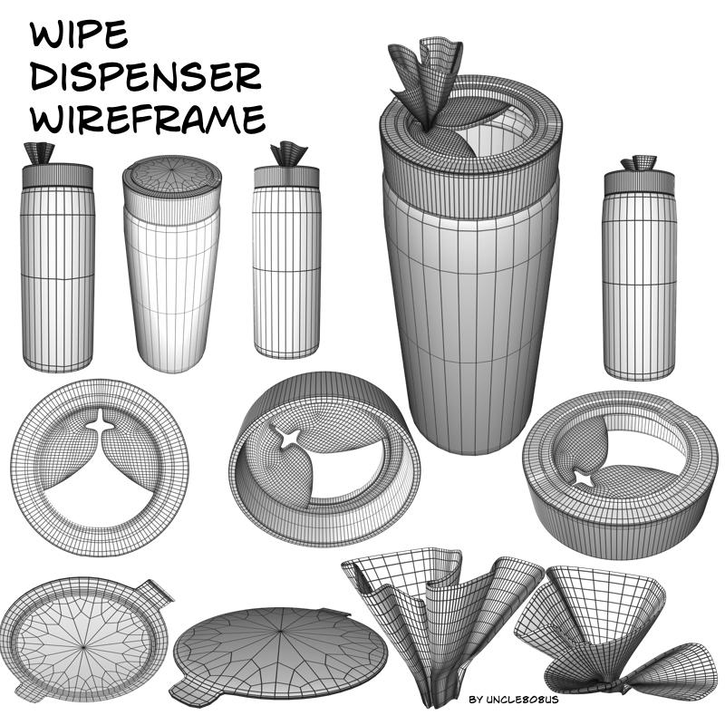 wipe dispenser 3d model fbx pz3 pp2 209768
