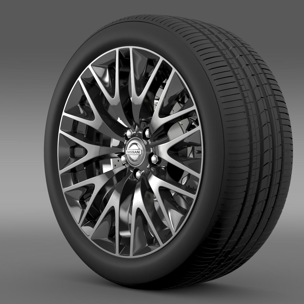 nissan cima hibrid kerék 3d modell 3ds max fbx c4d lwo ma mb hrc xsi objektum 210813