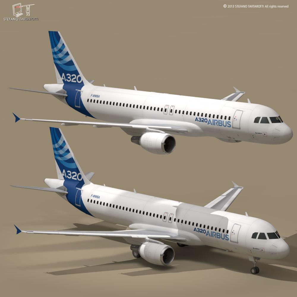 A320-200 airbus 3d model 3ds dxf fbx c4d dae obj 211443