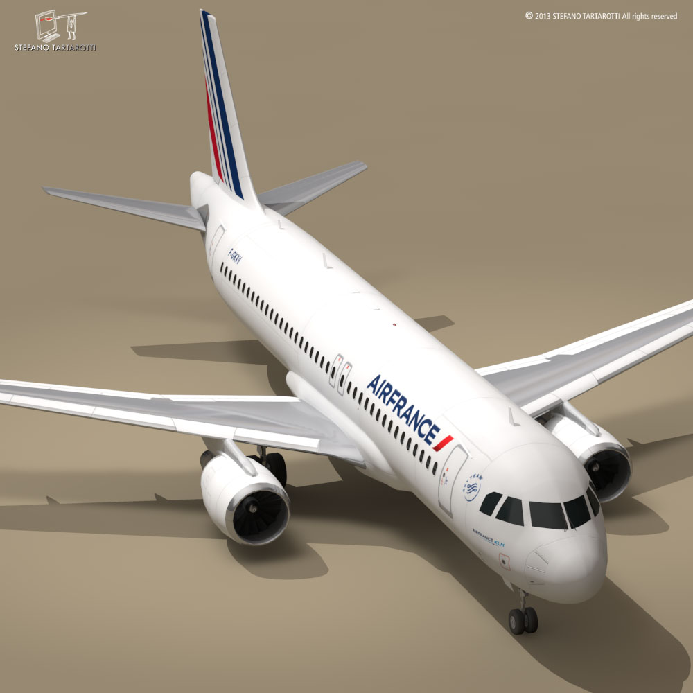 a320-200 air france 3d model 3ds dxf fbx c4d dae obj 211455