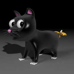 Toon Kitty Moon 3d model 0